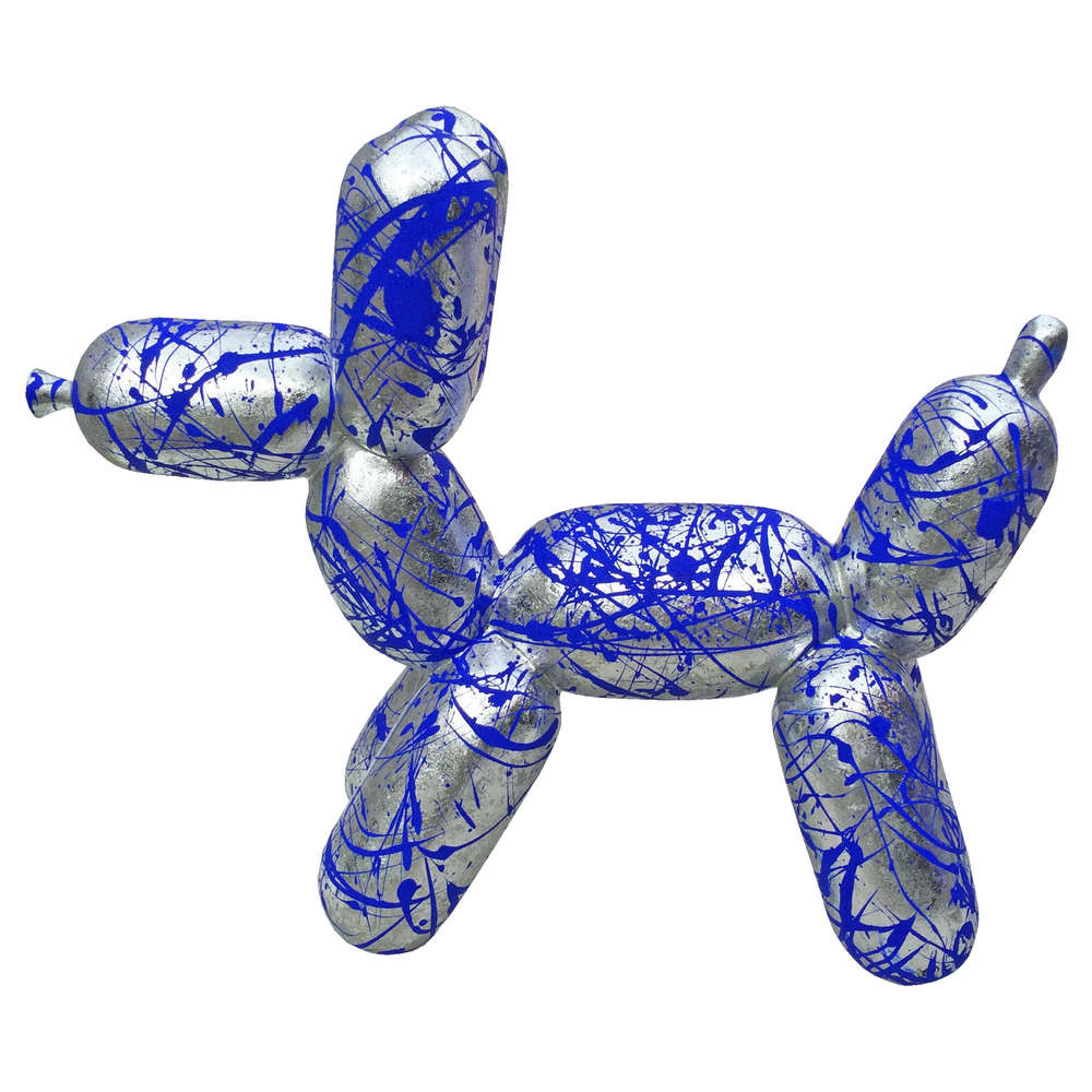 Balloon dog zilver leaf, large