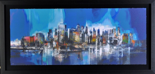 Manhattan skyline blue